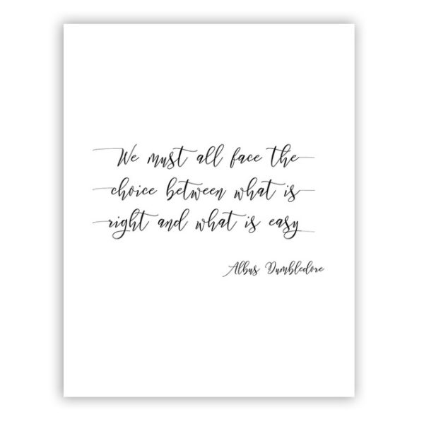 une affiche blanche avec citation d'Albus Dumbledore