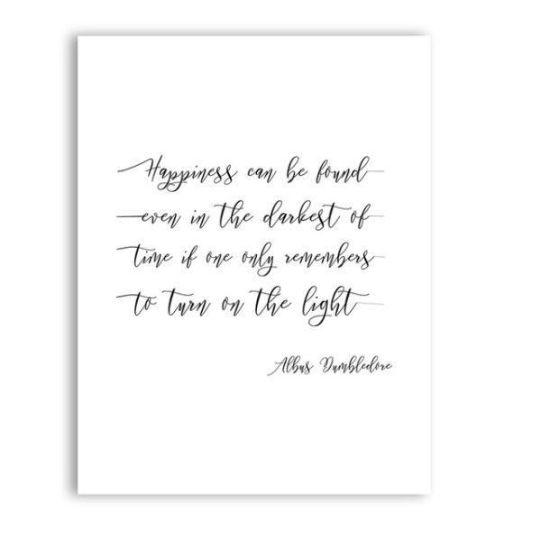 une affiche blanche avec une citation d'Albus Dumbledore
