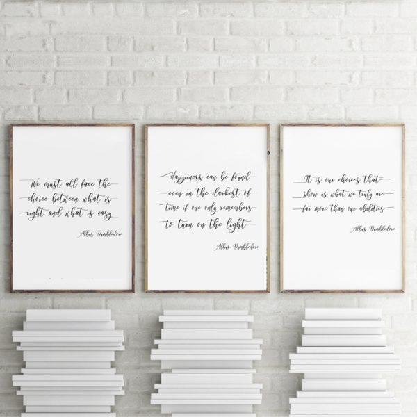 3 citations d'Albus Dumbledore encadrées sur un mur