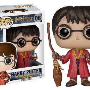figurine POP Harry Potter avec balais avec boite sur fond blanc