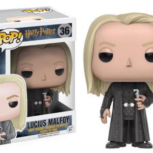 Figurine POP Lucius Malefoy avec sa boîte sur fond blanc
