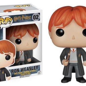 Figurine POP Ronald Weasley avec sa boîte sur fond blanc