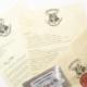 Lettre Officiel de Poudlard en Anglais avec Liste des fournitures et billet pour le train