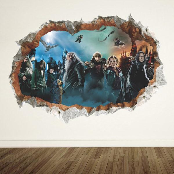 Poster 3D style mur cassé, vu sur la bataille finale
