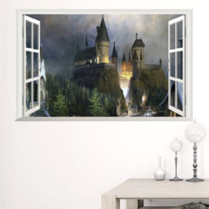 Poster vue sur Poudlard dans une chambre