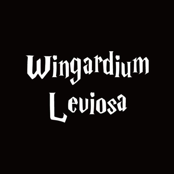 Sticker Wingardium Leviosa Blanc sur fond noir
