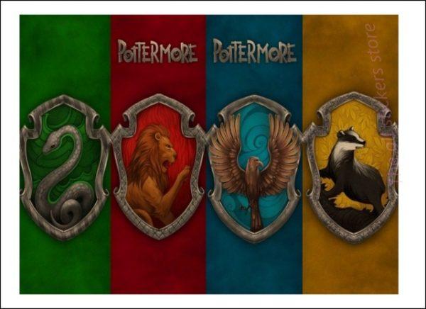 Affiche des 4 maisons de Poudlard - Harry Potter