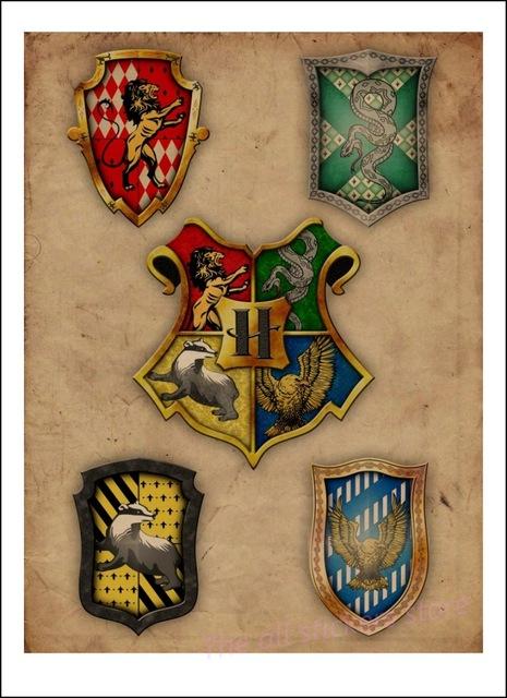 Affiche Poudlard + 4 maisons - Harry Potter