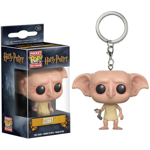 Porte-clés Dobby dans sa boîte en figurine POP sur fond blanc